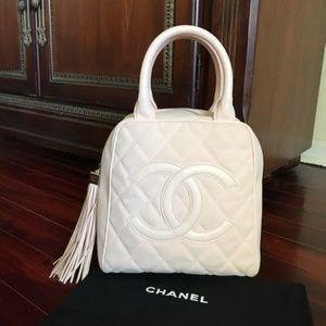 6aa61ed99f1c RARE Chanel Pink Caviar Leather Tassel Tote Bag
